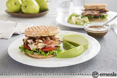 Chicken and Waffle Sandwiches: We've taken the classic Southern pairing of chicken and waffles, minus the heavy fried breading, and stuffed it (along with some bacon goodness) between two warm, crispy waffles. The real kicker? The seriously good secret sauce we slathered on too. | eMeals