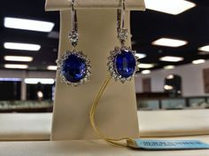 8.16 ctw Natural Matched Tanzanite Earrings with 1.45 ctw of diamonds