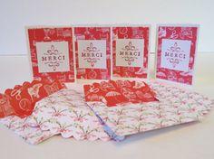 Ensemble de mini cartes de remerciement merci ou thank you «Rouge et perles» (4)
