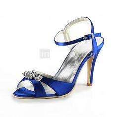sandalias de tacón de aguja de satén con zapatos de pedrería mujeres del banquete de boda Popular