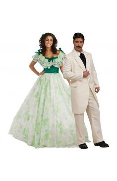 Gone With the Wind Scarlett Picnic Dress and Gone With the Wind Rhett Butler Couples Costume Image