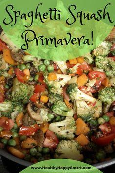 spaghetti squash primavera - veggies galore! Great vegetarian and clean eating recipe! Gluten free!