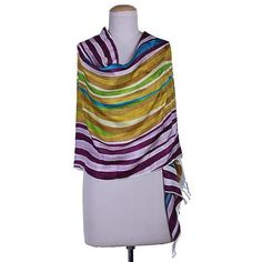 NOVICA Handwoven Indian Bishnupur Silk Print Shawl ($36) ❤ liked on Polyvore featuring accessories, scarves, clothing & accessories, shawls, yellow, indian scarves, shawl scarves, print scarves, indian silk scarves and silk scarves
