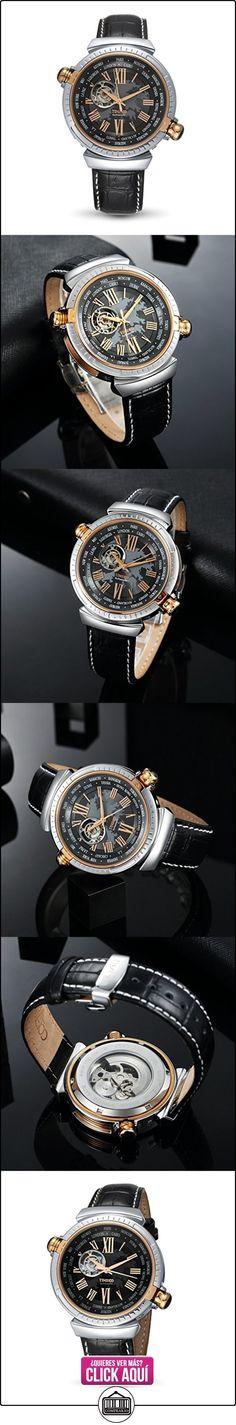 TIME100 W60043G.03A de la manera de la correa de cuero genuino auto de la cuerda automática de la mecánica de las zonas de tiempo del mundo del reloj el día de padre  ✿ Relojes para mujer - (Gama media/alta) ✿ ▬► Ver oferta: https://comprar.io/goto/B018E3VFUI