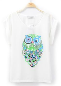 White Short Sleeve Owl Print Loose Chiffon Blouse - Sheinside.com
