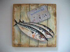 maquereaux: peinture sur bois, Philippe COEURDEVEY, galerie artmajeur