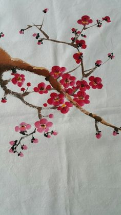 Fabric Painting, Fabric Art, Watercolor Paintings, Acrylic Paintings, Art Floral, Cherry Blossom Painting, Fabric Paint Designs, Painted Clothes, World Of Color