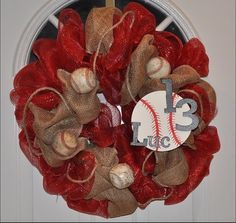 Handmade Baseball Crafts | Custom baseball mesh burlap wreath by tchoyland on Etsy, $90.00