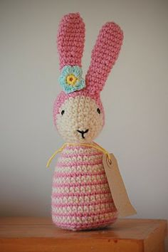 Greedy For Colour: crochet (a free pattern on there: http://greedyforcolour.blogspot.com.ar/2011/02/flora-rabbit-tutorial.html ) thanks so xox