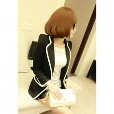 Stylish Lapel Neck Puff Sleeves Color Block Women's Slimming Fit Blazers, BLACK