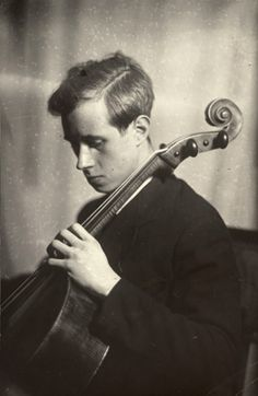 Mstislav Rostropovich, c. 1950. Photo by Moissej Nappelbaum (1869-1958). // waking up another idea I've been pondering for some time - musicians & composers with their instruments.