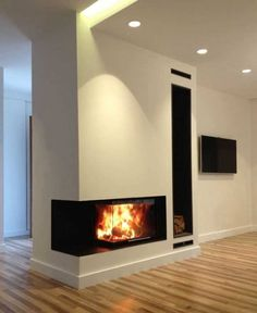 38 Inspiration For Fireplace Corner Ideas shiplap corner f… - Wood Burning Fireplace Inserts House, Living Room With Fireplace, Contemporary Fireplace, Corner Fireplace, Contemporary House, Fireplace Mantels, Propane Fireplace, Contemporary Farmhouse, Modern Fireplace