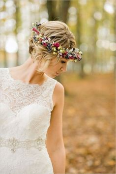 26 Short Wedding Hairstyles And Ways To Accessorize Them: short wavy hair with a floral crown inspired by the fall, with berries and succulents; Curly Wedding Hair, Long Hair Wedding Styles, Wedding Updo, Short Hair Styles, Wedding Ceremony, Bridal Hairdo, Bridal Headpieces, Wedding Bride, Wedding Dress