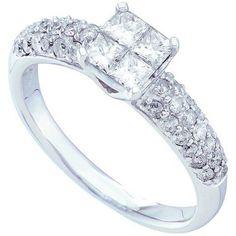 1.00 Carat (ctw) 14K White Gold Princess & Round Diamond Ladies Invisible Bridal Engagement Ring 1 CT  #Luxury #Luxurious #Jewelry #Diamond #PrincessCut #Shopping #WeddingRing #Wedding #Engagement #ForHer #Gifts