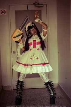 Gloomth Good Nurse Medical Lolita Dress with Apron White Red Sizes S to In Stock Afro Punk Fashion, Lolita Fashion, Grunge Fashion, Girl Fashion, Fashion Dresses, Victorian Style Clothing, Nurse Aesthetic, Nursing Dress, Lolita Dress