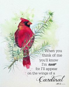 Cardinal quote memorial art print by Ellen Brenneman - You are in the right place about Cardinal quote memorial art print by Ellen Brenneman Tattoo Design - Art Prints Quotes, Art Quotes, Fine Art Prints, Quote Art, Cardinal Tattoos, Watercolor Trees, Watercolor Tattoo, Watercolor Paintings, Cardinal Birds