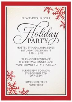 Elegant Christmas holiday party invitation with red snowflakes.