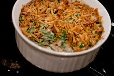 Campbell's® Green Bean Casserole, A Thanksgiving Favorite! (substitute 1 lb. of fresh green beans (cooked), for the canned, and replace the soy sauce with 1 Tbsp. cooking sherry)