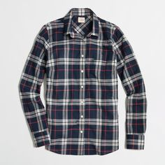 Factory classic button-down shirt in plaid ($32) ❤ liked on Polyvore featuring tops, flannels, shirts, plaid, plaid top, button-down shirts, plaid button down shirt, flannel shirts y shirts & tops