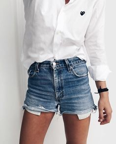 White button down + denim shorts.