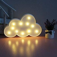 XIYUNTE Cloud Shape Night Light - LED Cloud Lamps Indoor Lighting Warm White 11 Beads Marquee Ligths Battery Operated Bedside and Table Lamps Wall Decoration for Living Room,Christmas,Party,Girls Bedroom Led Night Light, Light Led, Night Lights, Cloud Lamp, Christmas Birthday Party, Cloud Lights, Cloud Shapes, Marquee Lights, Nursery Room Decor