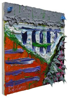 Oil Painting 12 by 12 by 3/4 in. / gallery poetic signed outsider raw urban paintings art nyc pop artist original