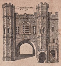 Cripplegate - The City Gates as they appeared before they were torn down - reproduced in Harrison's History of London - 1775 Old London, London City, Diorama, London Drawing, Old Gates, Old King, London History, Brick Lane, Brick And Mortar