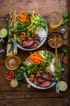Five-Spice Beef & Smoked Hoisin Tofu Noodle Bowls Asian Recipes, Healthy Recipes, Ethnic Recipes, Lunches And Dinners, Meals, Tofu Noodles, Spiced Beef, Noodle Bowls, Food Platters