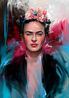 Frida Kahlo - - See amazing artworks of Displate artists printed on metal. Easy mounting, no power tools needed. Frida Kahlo Artwork, Frida Paintings, Frida Kahlo Portraits, Frida Art, Easy Paintings, Diego Rivera, Freda Carlo, Fridah Kahlo, Poster Prints