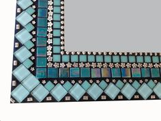 Mixed Media Mosaic Mirror in Turquoise and by GreenStreetMosaics Blue Mosaic, Mosaic Diy, Mosaic Crafts, Mosaic Projects, Mirror Mosaic, Diy Mirror, Glass Mosaic Tiles, Mosaic Wall, Sunburst Mirror