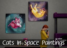 Cats In Space Paintings Mesh by EA (base game) Original art by Bronwyn Schuster TOU 10 artworks Price : 200 § Choose the . Sims 1, The Sims, Sims 4 Bedroom, Girls Bedroom, Sims 4 Anime, Sims Building, Sims 4 Cc Packs, Dog Poses, Space Painting