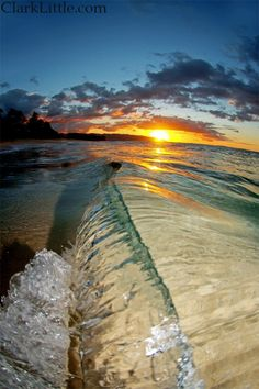 Sunset and waves at  Hawaii Oahu