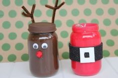 I did this but punched two holes in the tops so they can be hung on a Christmas Tree with a ribbon.  The baby food jars were also of a smaller size.  They looked just as cute.