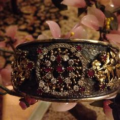 Vintage 925 natural ruby topaz cuff bracelet Amazing gold detail natural ruby marked 925 fit any hand size 925 natural ruby  Jewelry Bracelets