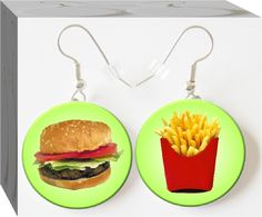 Hamburger & Fries #Button Charm Jewelry