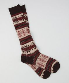 Crimson Vintage Lodge Knee-High Sock ~ MUK LUKS - how bout this one for Christmas Stockings!