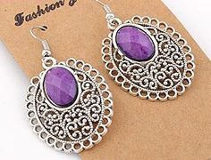 EA110 Tibetan silver exquisite PURPLE crystal drop earing with hook style - suitable only to piercings. Normally retails for around $25 each - my selling price (including postage within Australia) is $15.00 each... Please feel free to contact me if your require price for postage overseas…
