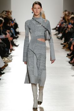 Ultra Mod Grey Dress with a Side Waist Split and Shoulder Split by Proenza Schouler Fall 2016 Ready-to-Wear Fashion Show