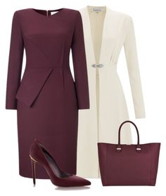 """Dress With Coat"" by malathik ❤ liked on Polyvore featuring Victoria Beckham"