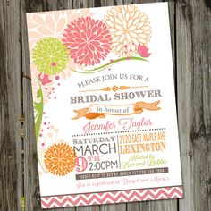 Spring Fling Pink and Orange Retro Flowers Bridal Shower Invitation. $15.00, via Etsy.