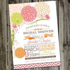 Spring Fling Pink and Orange Retro Flowers Bridal Shower Invitation. $15.00, via Etsy.