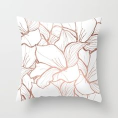 A modern and abstract hand drawn faux rose gold floral pattern with stripes and lines