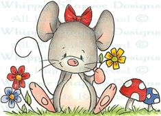 Spring Mouse - Mice - Animals - Rubber Stamps