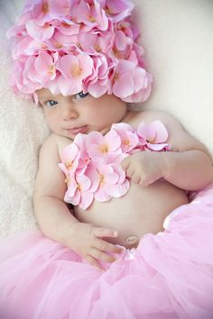 Precious Pink Baby Blossom Hydrangea Photo Prop Hat & Tube Top Set **not so big on the cap** Little Doll, Little Babies, Cute Babies, Little Girls, Baby Kids, Baby Baby, Baby Tutu, Beautiful Children, Beautiful Babies