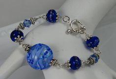 Blue Wave Bracelet by OnlyOneJewelryDesign on Etsy