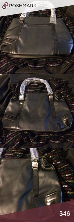 MARK- all buckled in tote👜 NEW- black boutique tote, has buckles attaching the handles.  One outer zip pocket, one zip pocket and two slip pockets inside.  Measures 18in X 12in with a 6 in handle drop.  Great work bag😊👜 Mark Bags Totes