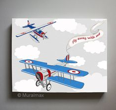 Vintage Airplane Boys wall art    Airplane Canvas Art  by MuralMAX, #Airplane #boysroom #kidsroomdecor