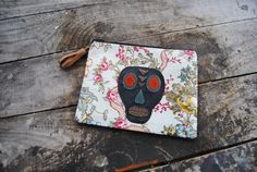 Upcycled Leather Skull Floral Mini Clutch// by aperfectmessvintage