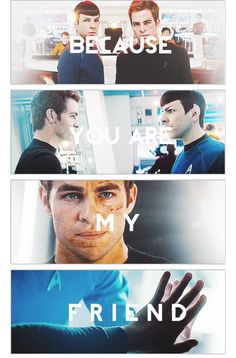 """Is it weird that I know that the first three images are from the 2009 movie and only the last image is from Into Darkness?...I don't think so..."" That was from the first person who posted it. It's not that hard to figure out because he wasn't technically a Captain in the first one. That's why he's not wearing his gold uniform."