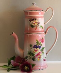 Antique Vintage Tall French Enamel Coffee Pot ~ Pink with Pansies